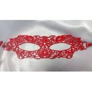 Кружевная маска на лицо для ролевых игр красная 0807