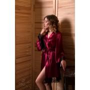 Атласный халат кимоно с широким рукавом Бордовый SecretLove 1065