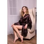 Летний женский халат атласный Шоколад 0899