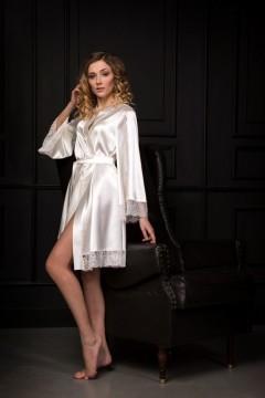 Нежный атласный халат с кружевом Шампань 0919
