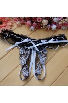 Эротическое белье стринги с разрезом черно-белые 0816