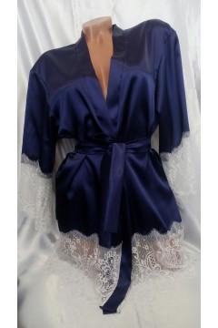 Соблазнительный атласный халат короткий синий с белым кружевом 1099
