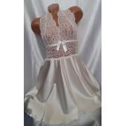 Комплект атласный халат с пеньюаром для невесты Молочный 1104