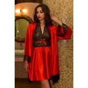 Комплект атласный пеньюар и халат с нежным кружевом Красный 1105