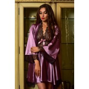 Комплект атласный халат и ночнушка с  мягким гипюром Фрез 1121