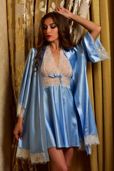 Легкий комплект из нежного атласа ночная сорочка и халат Голубой 1124