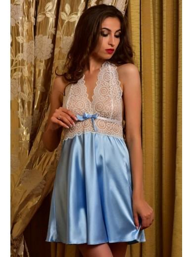 Ніжна атласна нічна сорочка Блакитна 1143 - SecretLove 4423e161beb3b
