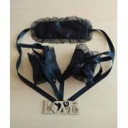Атласная маска с наручниками для ролевых  игр Черные 1183