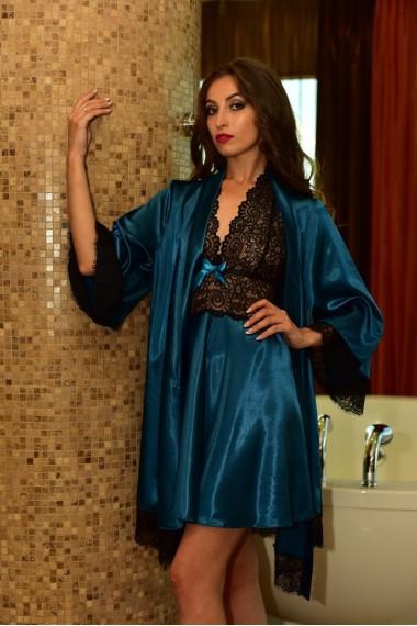 Нежный атласный комплект домашний халат с рубашкой Изумруд 1123