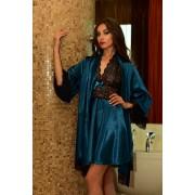 Нежный атласный комплект домашний халат с рубашкой цвета Морской волны 1123