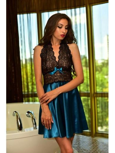 Одяг для дому атласний пеньюар кольору Морської Хвилі 1144 - SecretLove 3b0e5aa544b51