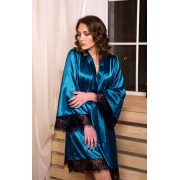 Женский атласный халат с кружевом Изумрудный 0881