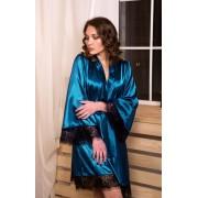 Женский атласный халат с кружевом Морская волна 0881