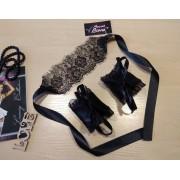 Комплект кружевная полупрозрачная маска с атласными наручниками 1173