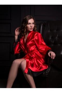 Женский атласный халат с французским кружевом Красный 2147