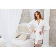 Белоснежный халат для невесты с нежным кружевом трикотажный
