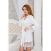 купить халат для невесты с нежным кружевом трикотажный