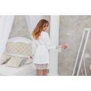 Белоснежный халат для невесты с нежным кружевом трикотажный Аэлита 1236
