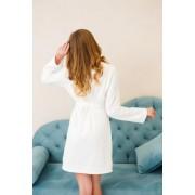 Трикотажный домашний халат белый с кружевом Флоранс 1240