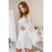 халат атласный для невесты с кружевным рукавом