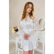 Роскошный белоснежный халат атласный для невесты с кружевным рукавом Одри 1243