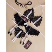 Комплект эротического белья лиф и стринги с разрезами и пояс для чулок  0867