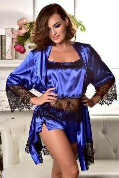 Атласный комплект домашней одежды халат и пижама Электрик 1255
