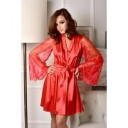 Красный атласный халат с кружевным рукавом Одри 1260