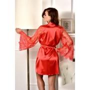 купить женский халат с кружевным рукавом красный