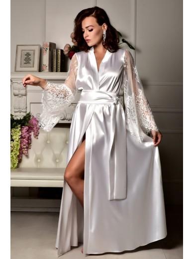 Роскошный атласный халат в пол для невесты Белый