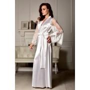 Роскошный атласный халат в пол для невесты Белый 1264