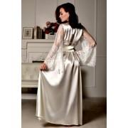 Длинный женский халат атласный с кружевным рукавом Айвори 1265