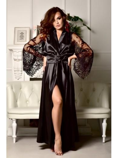 Длинный халат черный с кружевом
