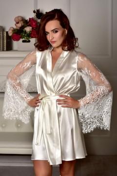 Атласный халат с кружевным рукавом для невесты Айвори