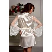 Атласный халат с кружевным рукавом для невесты Айвори (Жемчужный) 1268
