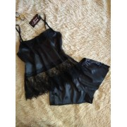 Комплект женская атласная пижама шорты с топом черный 0878