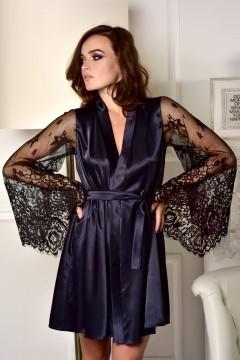 модный атласный халат с кружевным рукавом
