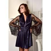 Атласный халат с роскошным кружевным рукавом темно-синий Одри 2000