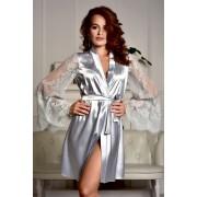 Атласный халат с длинными кружевными рукавами Серый (Серебро) 0763
