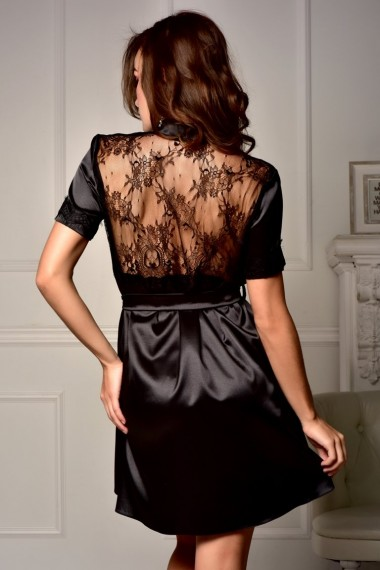 Короткий женский атласный халат с ажурной спинкой Черный