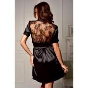 Короткий женский атласный халат с ажурной спинкой Черный Мегали 2031