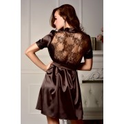 Соблазнительный халат с красивой кружевной спинкой Мегали Коричневый (Шоколад) 0764