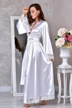 Нежный белый халат для невесты из атласа