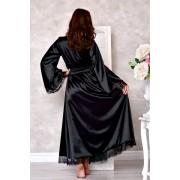 Черный атласный халат в пол с кружевом 1286