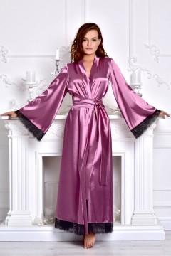 Женский длинный халат атласный с кружевом заказать