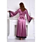 Женский длинный халат атласный с кружевом Фрез 1287