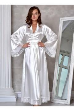 свадебный халат для невесты Жемчужный (Молочный)