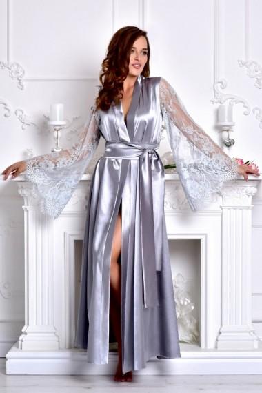 длинный атласный халат с кружевными рукавами
