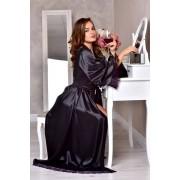 атласный халат в пол черный