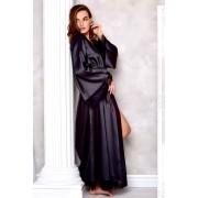 длинный атласный халат черный купить
